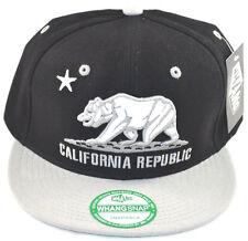 California Republic Snapback-Black Cap with Grey Gray Brim