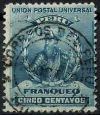 Peru 1896-1900 SG#341, 5c Turquoise Blue, Pizarro Used #E1262