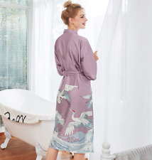 New Luxurious Purple Cranes Chinese Japanese Dressing Gown Bath Robe ladpj254