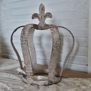 Krone Metall Rostoptik Dekokrone shabby H 21cm grau Lilie Gartenkrone Garten NEU