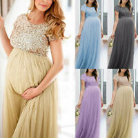 Women Short Sleeve Pregnancy Photography Photo Shoot Long Maxi Maternity Dress K