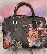 GUESS Factory Women's Linea Floral Print Logo Black Satchel Handbag NEW SG648606