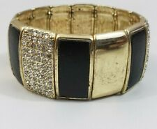 "Women Bracelet Black Gold Stretch Rectangular Shape Gemstone 2.25"" L 1"" wide"