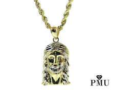 Jesus Piece 10k Yellow Gold Two Tone Pendant with Rope Men's Chain Set Hiphop