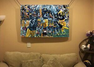 HUGE 44x30 TROY POLAMALU Vinyl Banner POSTER PITTSBURGH STEELERS Football art
