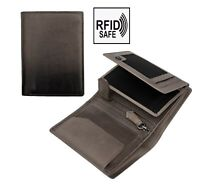 Prime Hide Cherokee NEW Mens Designer Black Leather Vertical Trifold Wallet RFID