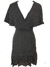 ASOS WOMENS LADIES BLACK & WHITE SHORT SLEEVE PRINT WASHABLE ABOVE KNEE DRESS 12