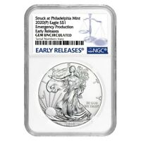 2020 (P) 1 oz Silver American Eagle NGC Gem Unc ER Emergency Production