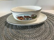 Villeroy & Boch Design Naif Village and Farm Gravy Boat with Attached Underplate