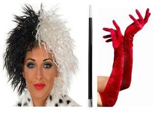 1920's CRUELLA DE VILLE 101 Dalmatian Lady Wig, Long Red Gloves, Feather Boa