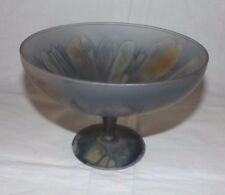 """Charcoal Gray Crystal 7 5/8"""" Footed COMPOTE with Abstract Floral Design"""