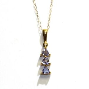 "10k yellow gold .005ct SI1 H diamond tanzanite 3 stone pendant necklace 1.2g 18"""