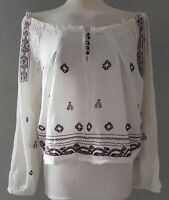 Womens ZARA Top Boho Embroidered Summer Off The Shoulder Lace S M New £25.99