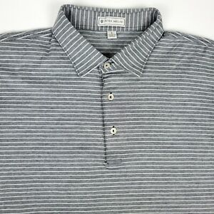 Peter Millar Gray Striped Mens Short Sleeve Polo Shirt Size Large