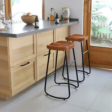 Industrial Bar Stools Kitchen High Chair Wood Home Counter Pub Cafe Coffee Seat
