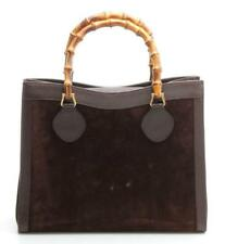 GUCCI - VTG Brown Chocolate Suede Leather Trim Bamboo Handle Tote Bag Purse