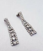 Vintage Art Deco Formal Rhinestone Drape Silver Tone Post Earrings