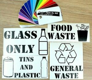Rubbish Waste Bin Stickers Labels Decals Adhesive General Glass Plastic Tin Food