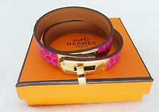 Authentic Hermes Kelly Double Tour bracelet aligator Rose Scheherazade size S