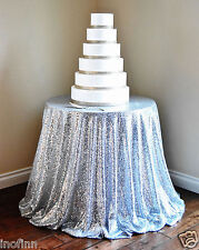 Special offer Silver Sequin Tablecloth 108'' Round for Wedding/Dessert Table