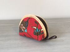 Small Soft Cloth Red Flower Indonesia Coin Purse Wallet Floral Tribal