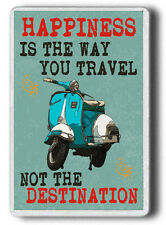 Vespa Fridge MAGNET, Happiness is the way you travel  JUMBO SIZE Magnet