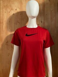 NIKE SWOOSH DRI FIT Graphic Print Unisex Youth T-Shirt Tee Shirt L Lrg Large Red