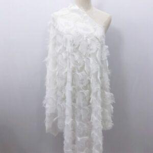 Jacquard Chiffon Fabric Peacock Feather Pattern Tassel Fringe Dress Material DIY