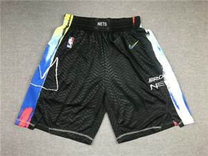 NEW Brooklyn Nets Retro Men's Black City Edition Basketball Shorts Size S-XXL