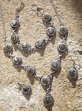 Handmade ethnic silver plated earrings necklace bracelet Labradorite cabochons