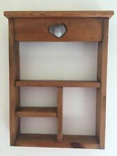 Handmade VTG Wooden Knick Knack Hanging Display Wall Shelf/With Heart Cut Out