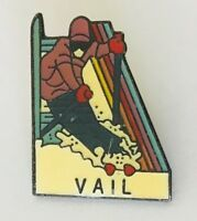 Vail Souvenir Ski Skiing Advertising Pin Badge Vintage (D12)