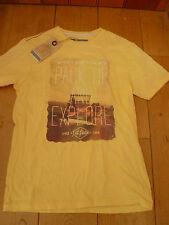 Fat Face Surf Viaje placa fotografía Impresión Camiseta Camiseta XS Hombre Adolescente Amarillo explorar