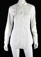 BRUNELLO CUCINELLI White Cotton Poplin Monili Button-Hole Detail Blouse L
