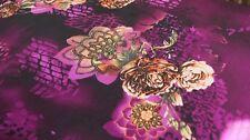 PRINTED WOOL PEACH FABRIC – LARGE ROSE DESIGN - DRESS FABRIC