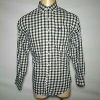 Ralph Lauren XL Chaps White Gray Plaid Men's Button-Front Shirt - Extra Large