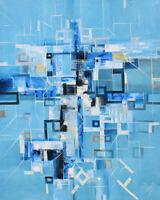 """PEINTURE XXL TABLEAU Abstrait """" BLUE CITY """" signé par BOZENA OSSOWSKI"""
