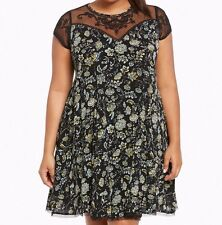 06ea7b41795e Torrid Floral Print Embroidered Gauze A-Line Dress Black 2X 18 20 2 #44394