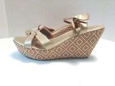 Charles Albert Womens US 10 M Gold Synthetic Ankle Strap Wedge Platform Sandals