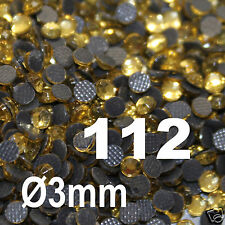 500 Strass hotfix TOPAZE CLAIR Ø 3 mm ss10 thermocollant RHINESTONE n112