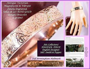 Antique FULL UK Hallmark S&P SOLID 9k ROSE GOLD ENGRAVED 15g BANGLE Bracelet 40s