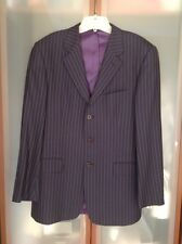 PAUL SMITH MENS 2pc $1795 DARK NAVY/GREY STRIPED 100% WOOL SUIT SZ.38 USED ITALY