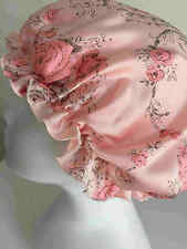 New 100% pure silk pink floral printed sleep cap bonnet night cap hair care