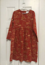 Hanna Andersson Girls Long Sleeve 100% Cotton Dress Sz 120 US 6-7 Orange NWOT