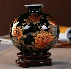 Jingdezhen Black Ceramic Vase Porcelain Chinese Handmade Antique Reproduction #3