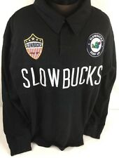 Slowbucks Sweatshirt Rugby Polo Pullover Long Sleeve Embroidered Men 2XL Black