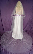 "Wedding Veil Cathedral Center Gather Floating 120"" length Cut Edge 27 colors"
