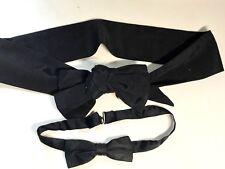 Vintage Silk Black Bow Tie & Black Cumberbund w/ Bow