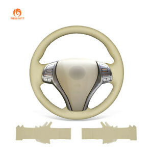 Beige PU Leather Car Steering Wheel Cover for Nissan Altima 2013-2018 Rogue 2014
