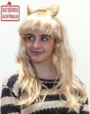 Lady Gaga Straight Long Straight Blonde Wig Bow Fringe Fancy Dress Costume Party